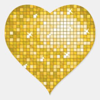 """El disco teja el corazón del pegatina del """"oro"""""""
