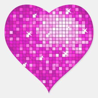 El disco teja el corazón rosado del pegatina