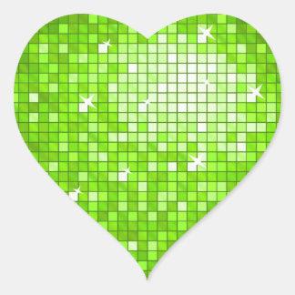 El disco teja el corazón verde del pegatina
