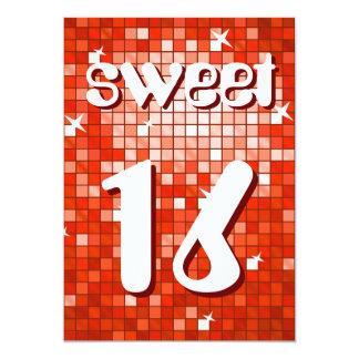 """El disco teja el """"dulce rojo 16"""" texto del amelia invitación 5"""" x 7"""""""