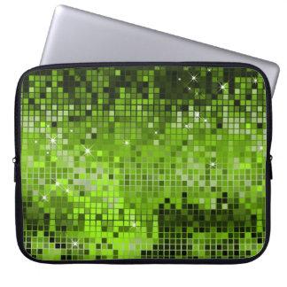 El disco verde metálico de la mirada de las lentej funda computadora
