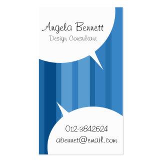 El discurso burbujea tarjeta de visita azul