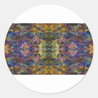 El diseño abstracto en oscuridad entona Orange.jpg Pegatina Redonda