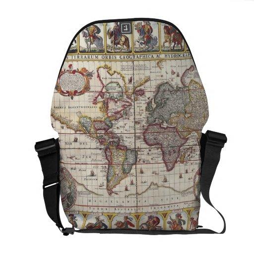 El diseño antiguo del mapa de Viejo Mundo del Bolsas Messenger