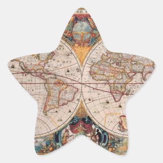 El diseño antiguo del mapa de Viejo Mundo del Calcomanía Forma De Estrella Personalizada