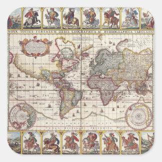 El diseño antiguo del mapa de Viejo Mundo del Calcomanía Cuadrada