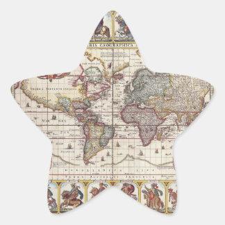 El diseño antiguo del mapa de Viejo Mundo del Calcomanías Forma De Estrella
