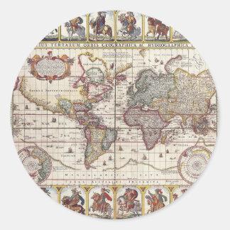 El diseño antiguo del mapa de Viejo Mundo del Etiquetas Redondas
