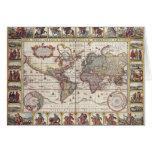 El diseño antiguo del mapa de Viejo Mundo del Tarjeton
