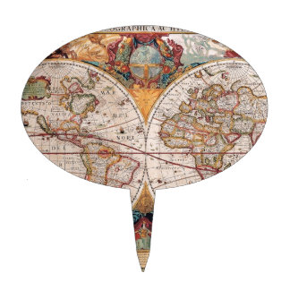 El diseño antiguo del mapa de Viejo Mundo del vint Figuras De Tarta