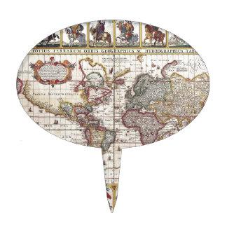 El diseño antiguo del mapa de Viejo Mundo del vint Decoraciones Para Tartas