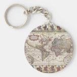 El diseño antiguo del mapa de Viejo Mundo del vint Llaveros