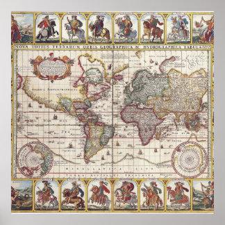 El diseño antiguo del mapa de Viejo Mundo del vint Poster