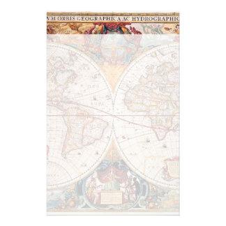 El diseño antiguo del mapa de Viejo Mundo del vint Papeleria