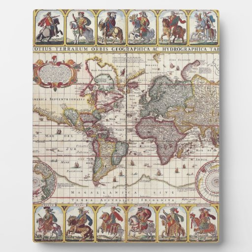 El diseño antiguo del mapa de Viejo Mundo del vint Placas De Plastico