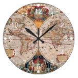El diseño antiguo del mapa de Viejo Mundo del vint Reloj De Pared
