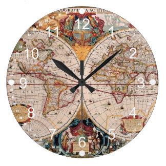 El diseño antiguo del mapa de Viejo Mundo del vint Reloj Redondo Grande