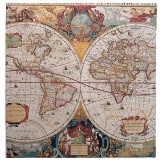 El diseño antiguo del mapa de Viejo Mundo del vint Servilletas De Papel