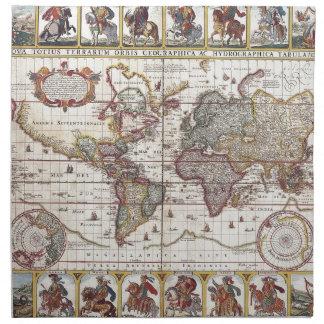 El diseño antiguo del mapa de Viejo Mundo del vint Servilletas