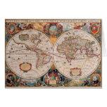 El diseño antiguo del mapa de Viejo Mundo del vint Felicitación