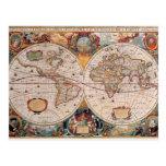 El diseño antiguo del mapa de Viejo Mundo del vint Tarjeta Postal