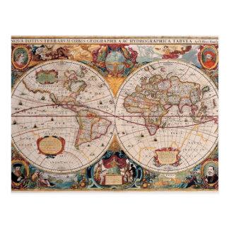 El diseño antiguo del mapa de Viejo Mundo del vint Tarjetas Postales