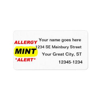 El diseño de la alergia de la menta de la alarma d etiqueta de dirección