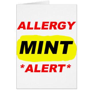 El diseño de la alergia de la menta de la alarma tarjeta pequeña