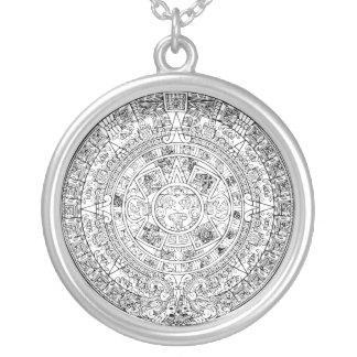 El diseño de piedra circular del calendario azteca colgante redondo