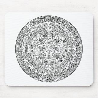 El diseño de piedra circular del calendario azteca mousepad