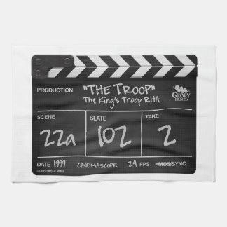 El diseño del clapperboard de la toalla de té de l