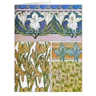 El diseño del lirio bosqueja 1901 tarjeta de felicitación grande