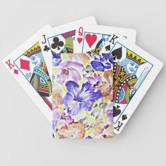 El diseño digital de la flor azul florece los péta cartas de juego