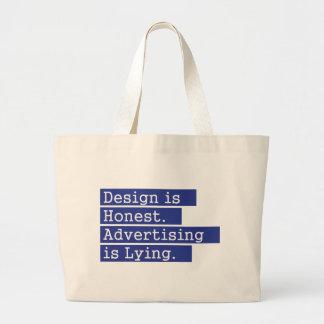 El diseño es honesto - azul bolsa tela grande