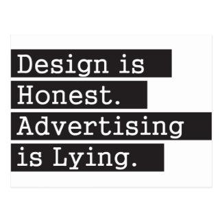 El diseño es honesto - negro postal