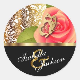 El diseño floral color de rosa coralino el | pegatina redonda