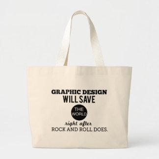 El diseño gráfico ahorrará el bolso de la taza del bolsa tela grande