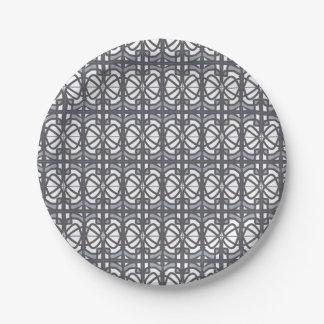 El diseño gris de Nouveau Deco del arte inspiró Plato De Papel De 7 Pulgadas