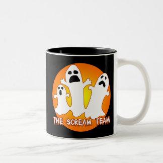 El diseño lindo del fantasma del equipo del grito tazas