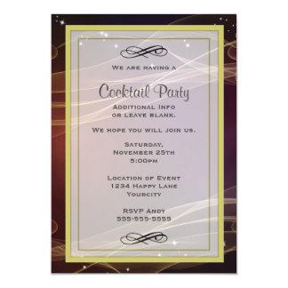 """El diseño marrón con oro acentúa al cóctel invitación 5"""" x 7"""""""