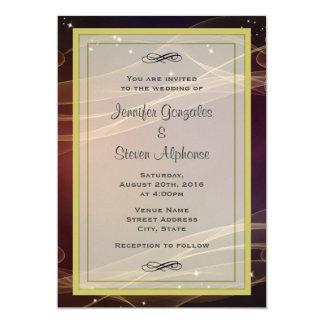 """El diseño marrón con oro Wispy acentúa el boda Invitación 5"""" X 7"""""""