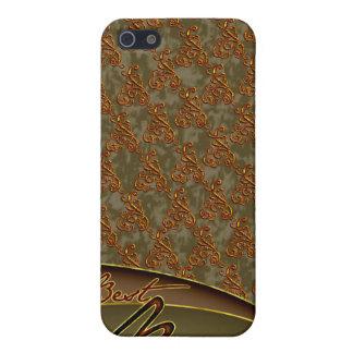 El diseño marrón de oro del mejor jefe iPhone 5 fundas