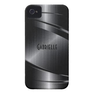 El diseño negro brillante cepilló la mirada de iPhone 4 Case-Mate coberturas