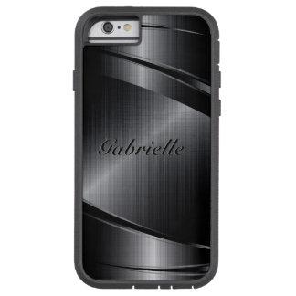 El diseño negro metálico cepilló la mirada de funda de iPhone 6 tough xtreme