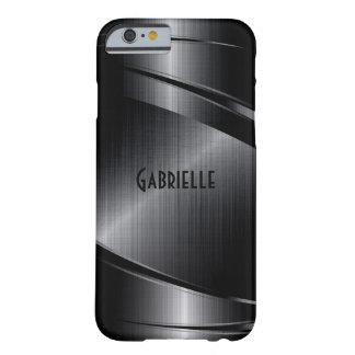 El diseño negro metálico cepilló la mirada de funda de iPhone 6 barely there