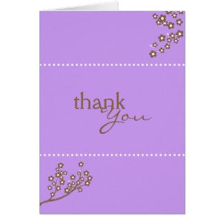 El diseño púrpura de la rama le agradece cardar felicitacion