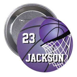El diseño púrpura el | del baloncesto personaliza pin redondo de 3 pulgadas