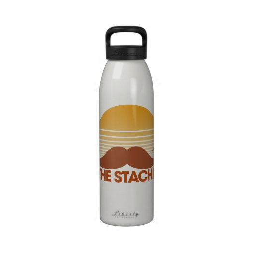 El diseño retro de Stache Botella De Beber