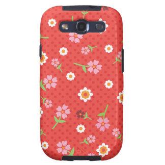 El diseño rojo retro Samsung del lunar de la flor Galaxy SIII Fundas