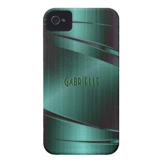 El diseño verde metálico cepilló la mirada de alum iPhone 4 Case-Mate protector